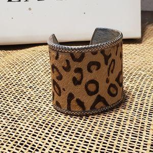 Leopard Hair/Silver linedWide Cuff